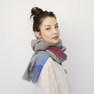 LARGE WOOL SHAWL MOON Grey
