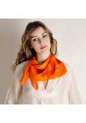 SQUARE TWILL SILK DRAGON ORANGE